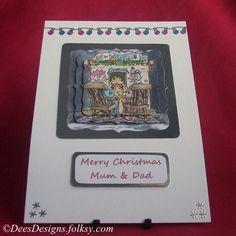 Handmade Christmas Card, Mum & Dad Celebrate £2.50