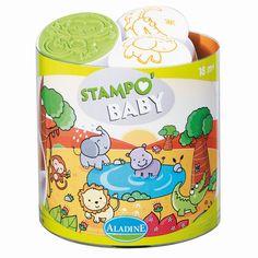 """""""Stampo Baby Safari-Tiere""""  Mit Stampo Baby können die Kleinen ab 18 Monaten ihren Spaß daran entdecken, ihre ersten Motive mit den großen ergonomischen Stempeln abzubilden. Inhalt: ein Maxi-Stempelkissen mit abwaschbarer Tinte und 5 große Stempel für kleine Babyhände.      ab 18 Monaten     abwaschbare Stempelfarbe"""