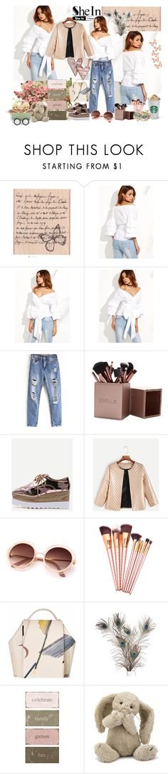 """SheIn - white blouse"" by leona9 ❤ liked on Polyvore featuring WithChic, Jellycat and Precious Moments"