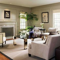 Gray-green walls wrap menswear-gray furniture and mirrored accents in an elegant, Hollywood-chic vibe. Grey Walls Living Room, Simple Living Room, Living Room Green, Formal Living Rooms, Grey Furniture, Living Room Furniture, Living Room Decor, Living Room Pictures, Living Room Inspiration