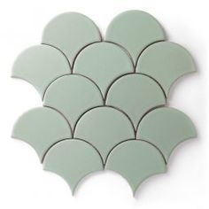Ogee Drop - Straight Set Taking cues from exotic Moroccan architecture, Ogee Drop is a fresh and modern twist on ancient designs. This straight set arrangement creates a whimsical scalloped pattern for a playful layered fan effect. Scallop Tiles, Fish Scale Tile, Fireclay Tile, Moroccan Bathroom, Brick Tiles, Ceramics Projects, Handmade Tiles, Tile Patterns, Beautiful Bathrooms