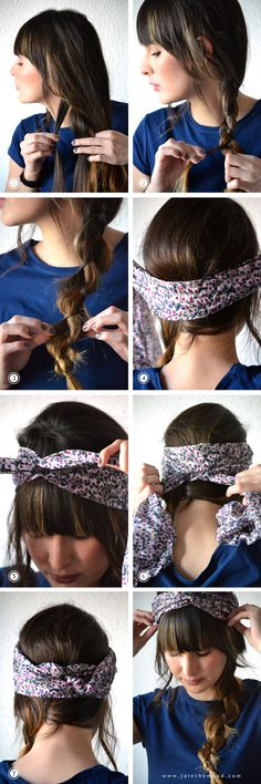 A Braid with a Bandana - good idea if you have layers or shorter hair that makes pieces tend to fall out if your braid is over to the side!