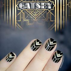 The Great Gatsby Nails. I have to do this to my nails. Love Nails, How To Do Nails, Fun Nails, Pretty Nails, Style Nails, Gorgeous Nails, 3d Nail Art, Cool Nail Art, Art Deco Nails