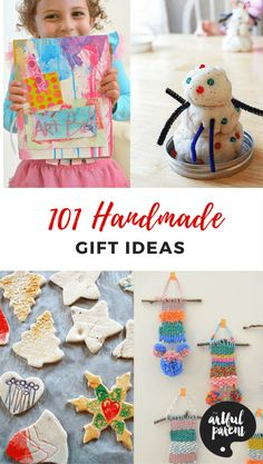Handmade Gift Ideas Kids and Families Can Make For The Holidays 101 fun handmade gift ideas for kids and families — great list of handmade gifts to make that are fun to make and receive. Many can be made by kids. Art Activities For Kids, Craft Projects For Kids, Crafts For Kids To Make, Creative Activities, Christmas Activities, Gifts For Kids, Art For Kids, Kid Crafts, Preschool Art