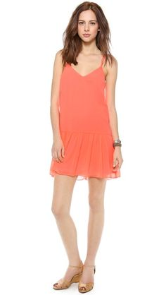 $50 coral dropped waisted dress