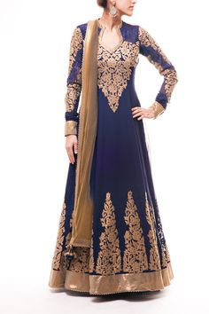 Stunning Navy Blue Pure Georgette Anarkali with Antique Gold Applique embroidery work with Antique Gold Border paired with Gold Dupatta