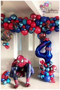 4th birthday spider-man balloon display! - Liverpool Balloon Artist