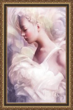 Lady In White - A Limited Edition Orig. Giclee Painting on Canvas (#4/25) 36x24