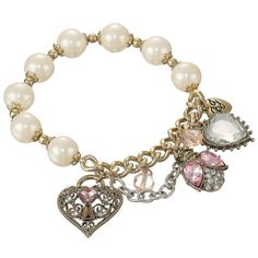 Play up your pretty style with this gorgeous bracelet! Gold and silver-tone bracelet chains with faux pearl stretch chain. Bug and heart with crystal accents. …