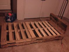 Simple pallet twin bed frame