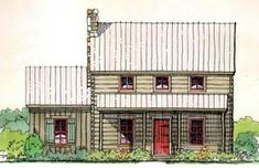Cabin House Plan 62402, 1200 sq ft 2 Bedroom, 2 bath