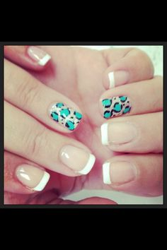 Turquoise leopard french nails.