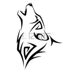 animali tribali: Howl lupo tatuaggio tribale design illustrazione