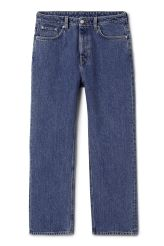 <p>Voyage jeans have a high waist, straight legs and a loose fit. Made  of a heavy non-stretch denim, this pair comes in a mid-blue wash with a tobacco coloured thread.<br /><br />- Size 28 measures 79,50 cm in waist circumference and 65,50 cm inseam.</p>