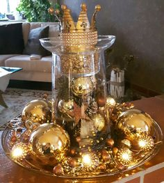 Gold Centerpieces, Table Decorations, Advent, Christmas Tree, Holiday Decor, Gold, Home Decor, Christmas Time, Decorating Ideas