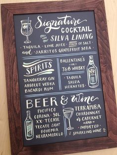 Bar Menu Cocktail Sign : Hand Painted Sign with by papertangent