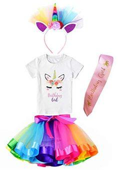 f345a509d Girls Layered Tutu Skirt with Unicorn Tshirt & Headband Rainbow 5-6  Years #