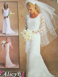 McCall's 9133 Sewing Pattern, Wedding Dress, Bridal Gown, Alicyn Design, Bust 38, Bride's Dress, 1990s Wedding Dress Pattern, Long Sleeves by sewbettyanddot on Etsy
