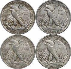 1942 P, 1943 P, 1944 P & 1945 P Walking Liberty Half Dollars, XF Lot of (4)