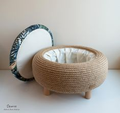 Handmade jute rope ottoman - Upcycled car tire - One of a kind furniture pieces Diy Furniture Decor, Diy Furniture Table, Furniture Projects, Furniture Makeover, Handmade Furniture, Recycled Furniture, Furniture Design, Diy Crafts For Home Decor, Homemade Home Decor