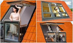 Best window design: a window that morphs into a mini balcony! Perfect for angled roofs & gables. #windows