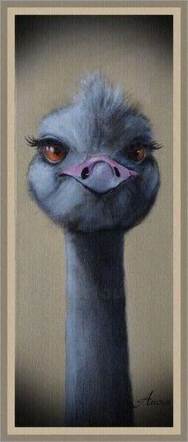 """Poster / Leinwandbild """"Vogelstrauß - Das zwinkern lerne ich auch noch!"""" bei eBay kaufen - ANOWI"""