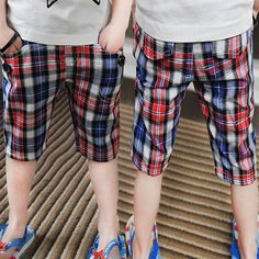 Aliexpress.com : Buy 2014 summer plaid boys clothing baby child capris casual pants trousers kz 3393 on Kids Fashion Clothing - Worldwide Wh...