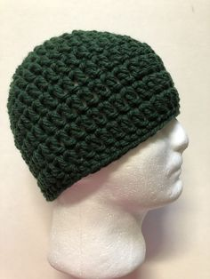 ba30fdf367d NEW Men s WOMEN green Chunky Handmade Crochet Beanie Hat Unisex Ski Cap  Large