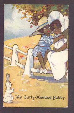 Romantic Black Negro Children Hug Sunbonnet Rabbit Watches Richardson Postcard | eBay