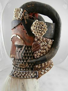 Authentic Museum Quality Kuba Helmet Mask Highly Adorned A Fine Example | eBay