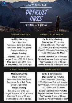to Train for Difficult Hikes - Perfect HikeHow to Train for Difficult Hikes - Perfect Hike Thru Hiking, Hiking Tips, Camping And Hiking, Hiking Gear, Hiking Boots, Backpacking Training, Preparation Physique, Hiking Essentials, Training Plan