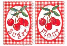 Cherries Again! Kitchen Jar Canister Labels
