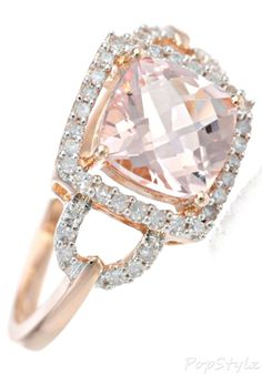Gorgeous Rose Gold Morganite & Diamond Ring