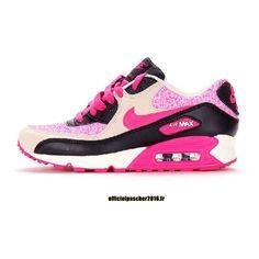 half off cfad9 05c53 Officiel Nike Air Max 90 SJX Chaussures Nike Sportswear Pas Cher Pour Femme  Noir - Blanc - Rose