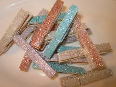 glitter laundry pins!  maybe this will actually make me want to do my laundry.