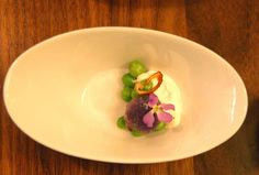 Purple potato, lemon ricotta, fresh peas, fried shallot...waiting for sorrel bisque.