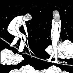 Korean artist Henn Kim creates minimalist black and white illustrations of those moments we feel lost in our own loneliness after a breakup. Art And Illustration, Black And White Illustration, Art Illustrations, Sad Drawings, Drawing Sketches, Pen Sketch, Life Drawing, Pencil Drawings, Henn Kim