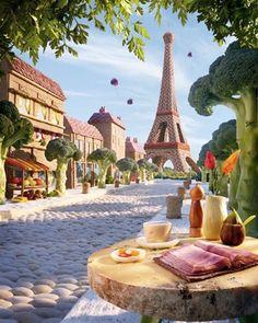 "Image: Foodscapes: ""Paris Boulevard"" (© Carl Warner)"