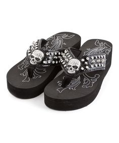 Look at this Black Crystal Skull Flip-Flop on #zulily today!