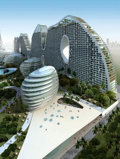 Fake Hill Residential Building... a residential apartment building located on a waterfront site in Beihai, China. The building will provide residential, office and hotel facilities in 492,369 sqm building area on 109,203 sqm site area. This unique building has a height in range of 106 – 194 m. Design by MAD ... #Architecture #Buildings #Architect #Art #Design