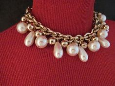 Givenchy Faux Pearl Bead Chunky Choker Necklace Runway Signed Vintage
