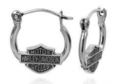 Harley-Davidson Women's Sterling Bar and Shield Hoop Earrings with Hinge Closure. HDE0233