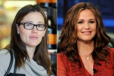 Jennifer Garner is the All-American girl with the happy husband and the happy family, so of course she looks great in glasses and no makeup. Photoshop Celebrities, Smoking Celebrities, Hollywood Celebrities, Celebrities Before And After, Celebrities Then And Now, Celebrity Makeup Looks, Celebrity Look, Jennifer Garner, Jennifer Lawrence