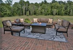 The Moncler Collection 8-Piece All Welded Cast Aluminum Patio Furniture Deep Seating Set w/ Firepit . $6116.93