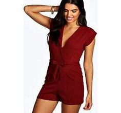 6e043b7ab5f7 boohoo Wrap Over Playsuit - berry azz14532 Pick a playsuit for a fashion  favourite that's easy