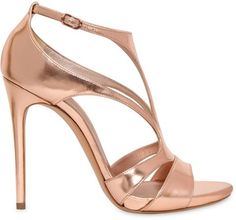 CASADEI 110mm Metallic Leather Sandals - Rose Gold