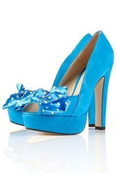 SINDY Blue Polka Dot Bow Peep Toe Platform Sandals - High Heels - Heels - Shoes - Topshop USA - StyleSays