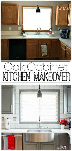 A builder grade kitchen gets a new look with classic features like gray cabinets, Quartz counters and subway tile. A must see makeover!