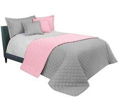 Oboustranné prošívané přehozy na manželskou postel v růžové barvě