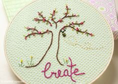 Embroidery Hoop Art and FREE Embroidery Pattern by Crafted Spaces #Needlework #Embroidery